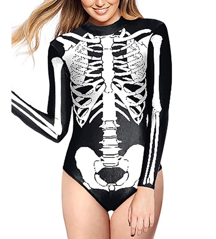 Skeleton One Piece Swimsuits Swimwear Swimming