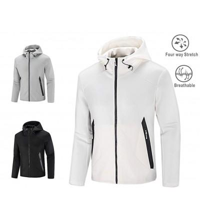 4e35716a2 Men' Athletic Jacket Double Zip-Up Running Hoodies Windbreaker Air Layer  Structure Sweatshirt Slim Fit - White - CF18I8MZO26