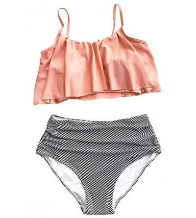 Reilive Swimsuit Falbala Shoulder High Waisted