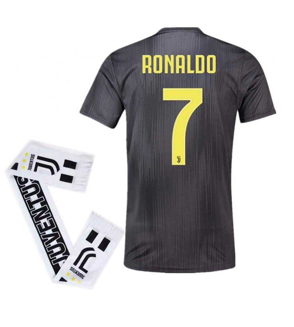 premium selection 6f742 23a5f 7 Ronaldo Juventus Away 2018-2019 Season Mens Soccer Jersey and Scarf Color  Black - CX18Q3DLLG2 Size Small