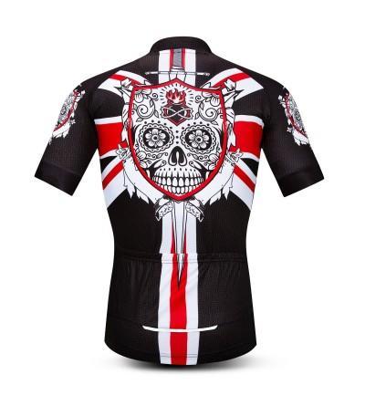 Men/'s Skull Cycling Jersey Short Sleeve Bike Shirt with Reflective Zip Pocket