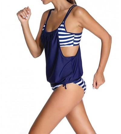 VIGVOG Womens Stripe Lined Up Tankini Top with Swim Trunks Two Piece Swimwear Bathing Suit