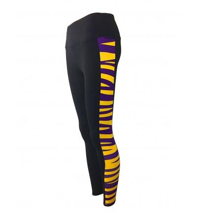 Purple Tiger Stripe Length Leggings