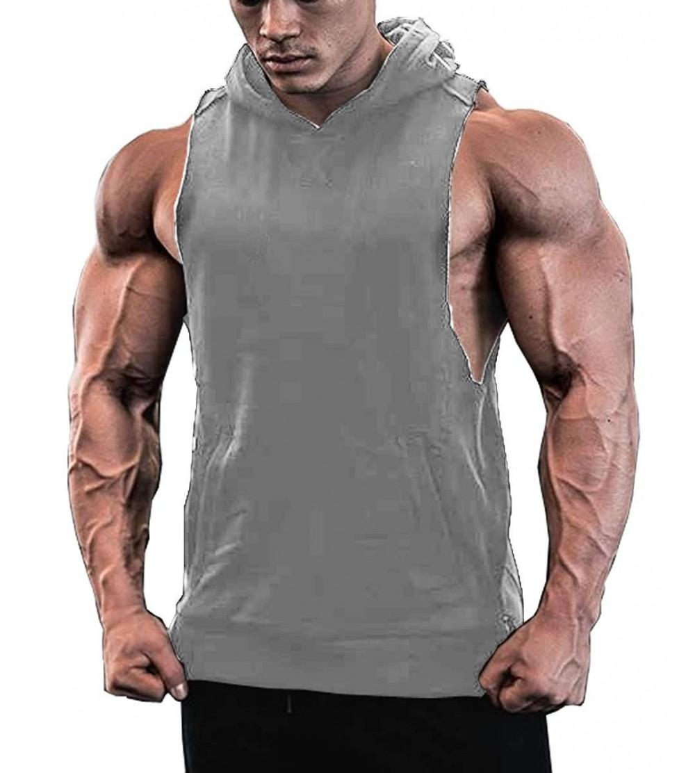 Jinidu Mens Workout Hooded Tank Tops Sleeveless Gym Hoodies with Pockets