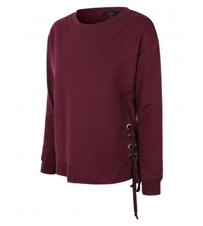 makeitmint Womens Detail Pullover YIL0024 BURGUNDY LRG