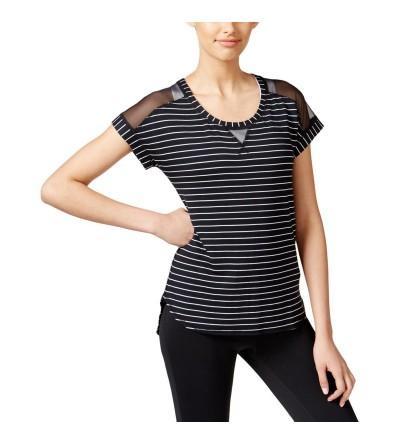 Ideology Womens Striped Mesh T Shirt
