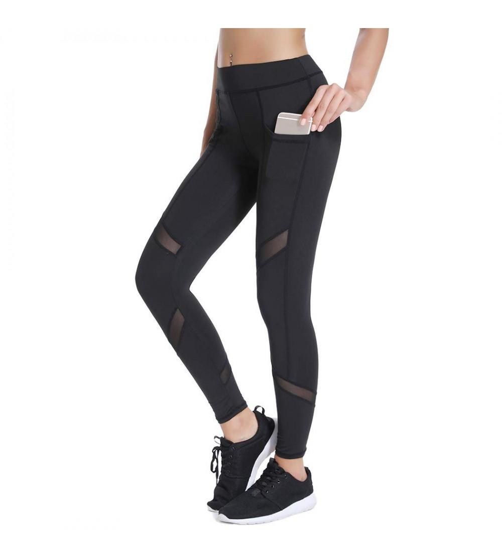 Joyshaper Workout Capri Leggings for Women with Pockets High Waist Mesh Yoga Pants Gym Running Tights