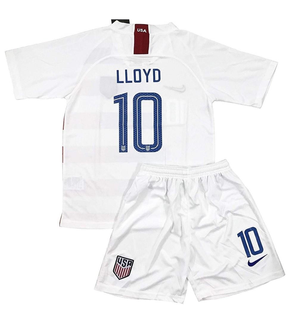 huge discount 26874 9f81c New 2018-2019 Carli Lloyd 10 USA National Team Home Soccer Jersey & Shorts  for Kids/Youths - CO18IORZA58 Size Ages 5-6