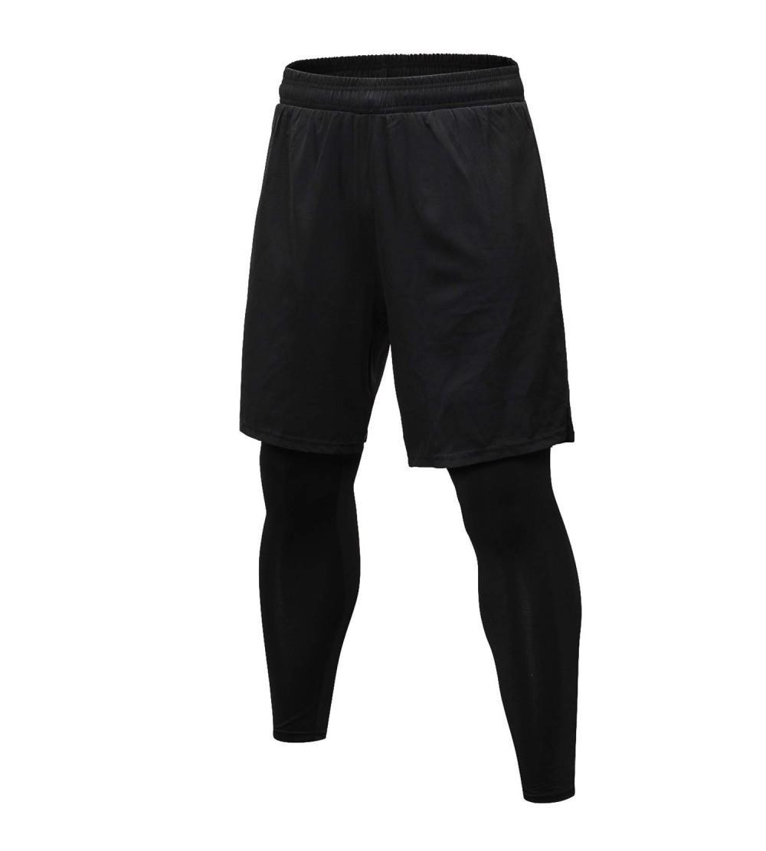 Men S 2 In 1 Sports Shorts Dry Fit Running Basketball Leggings Tights Pants Black Cy18nhidcui Size Medium