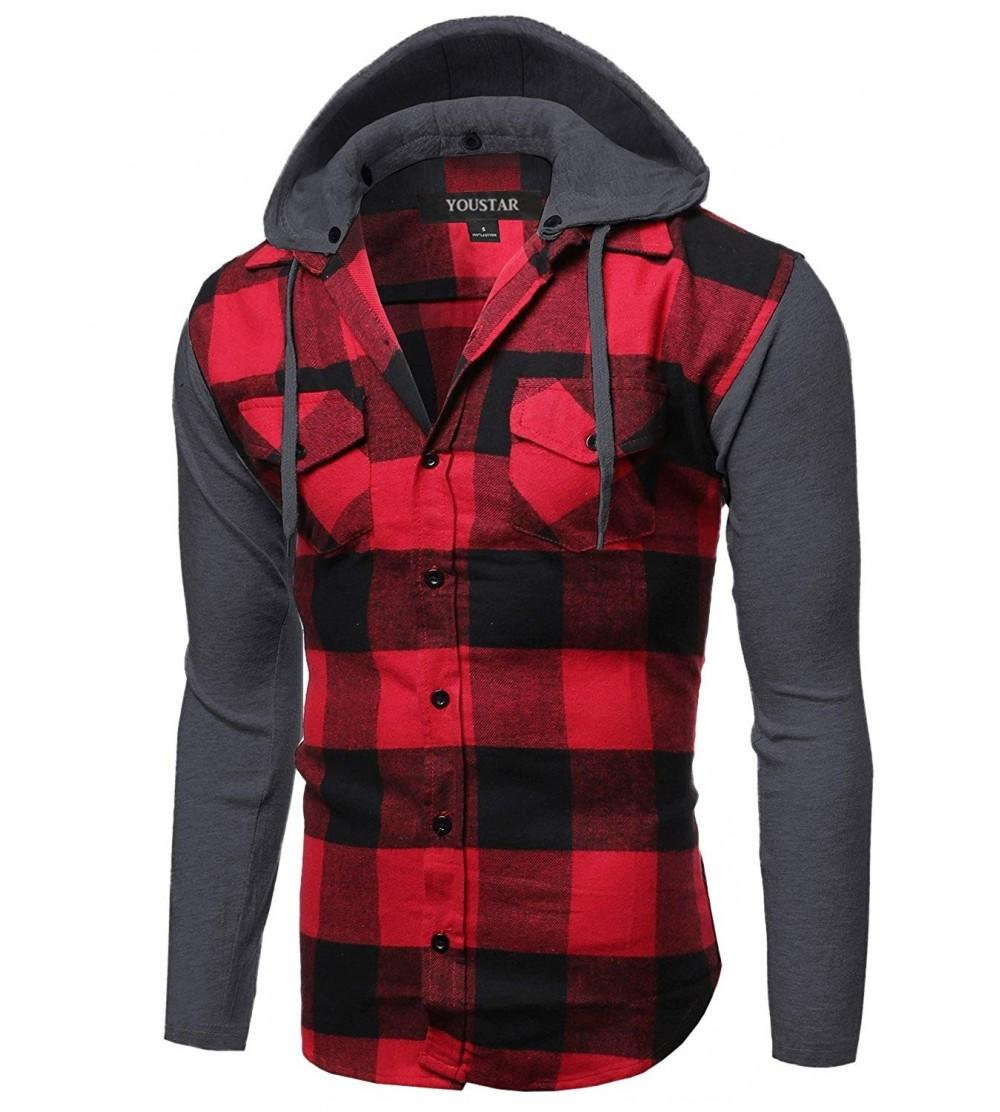 Youstar Sleeve Button Checkered Flannel