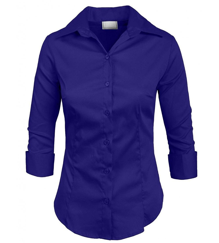 9f9c9e9676d Womens Stretch 3/4 Sleeve Roll Up Button Down Shirt - Newt01_b.royalblue -  C718CIWQEC6 Size Small